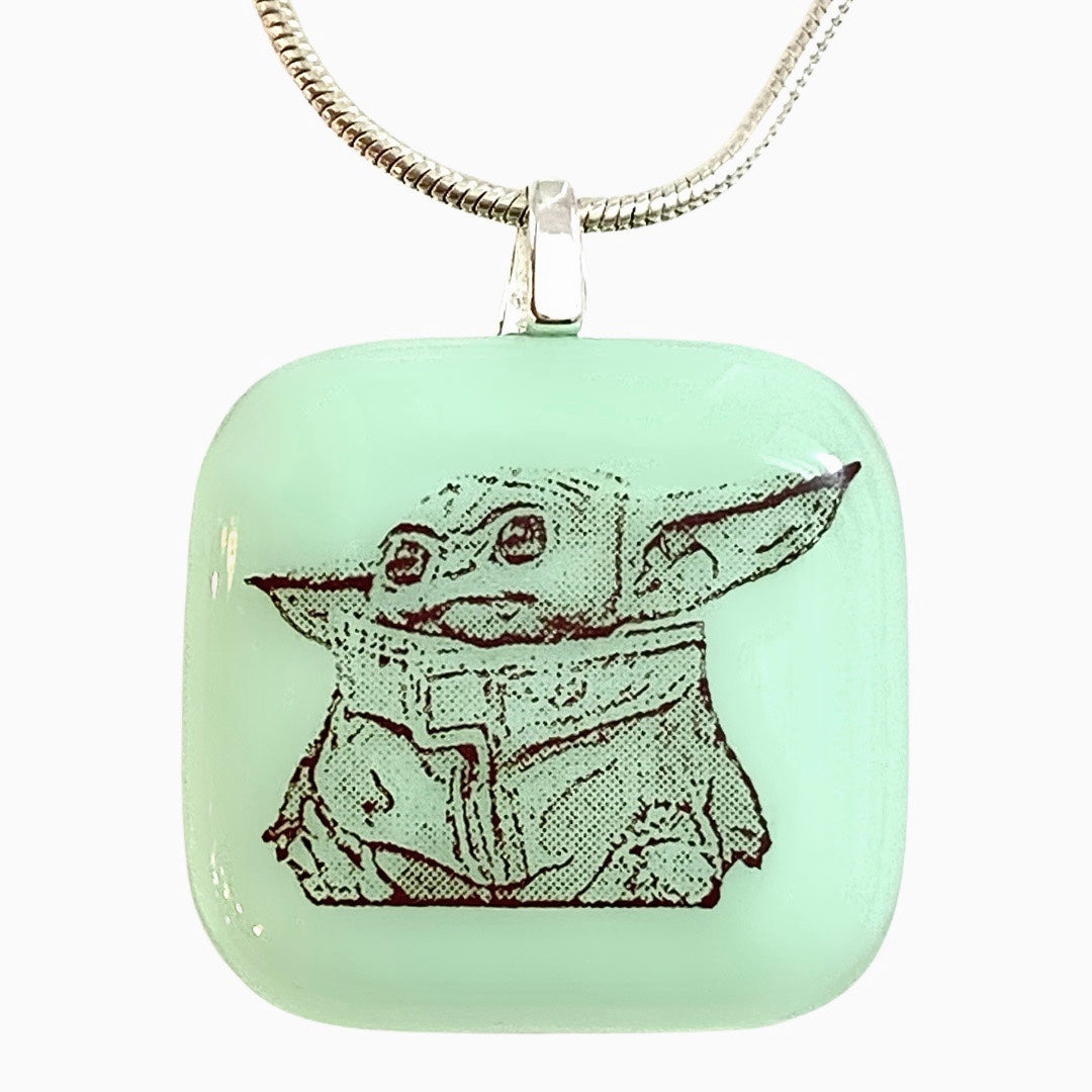 Baby Yoda Necklace Fused Glass
