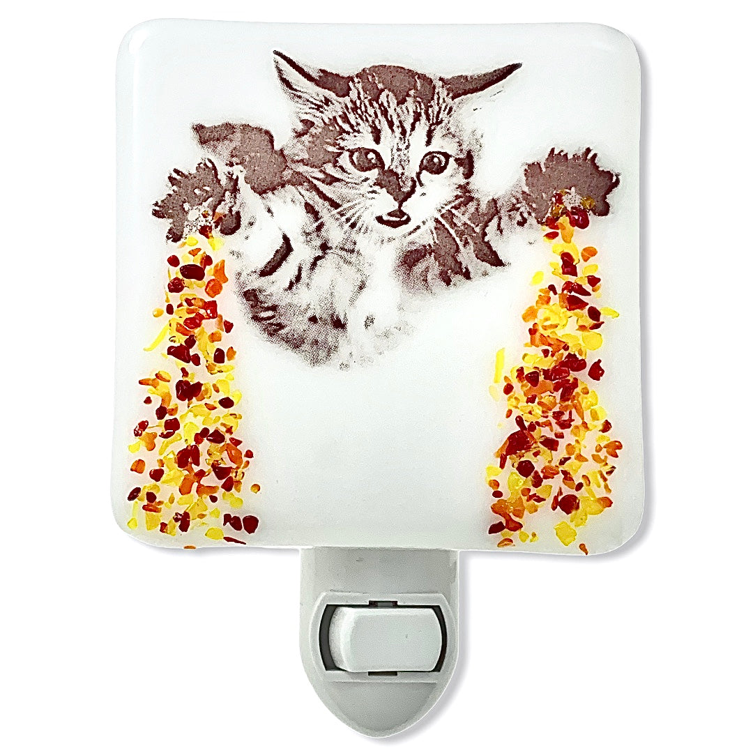Flying Kitten with Laser Beams Night Light - Glass Glitter Sprinkles