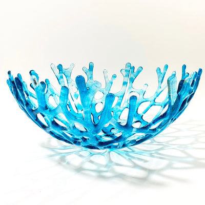 Coral Branch Bowl | Large Aqua Blue and Clear Streaky Glass