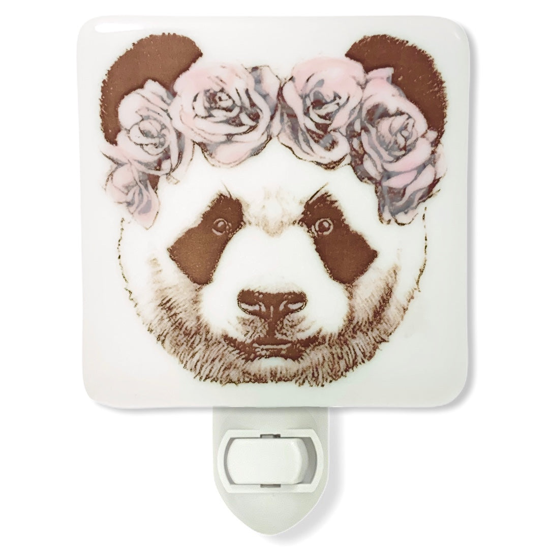 Panda Bear with Pink Flowers Night Light - Hand Painted