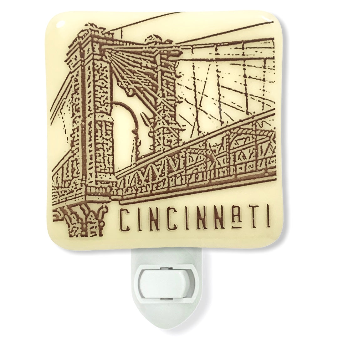 Cincinnati Ohio Roebling Suspension Bridge Sketch Night Light
