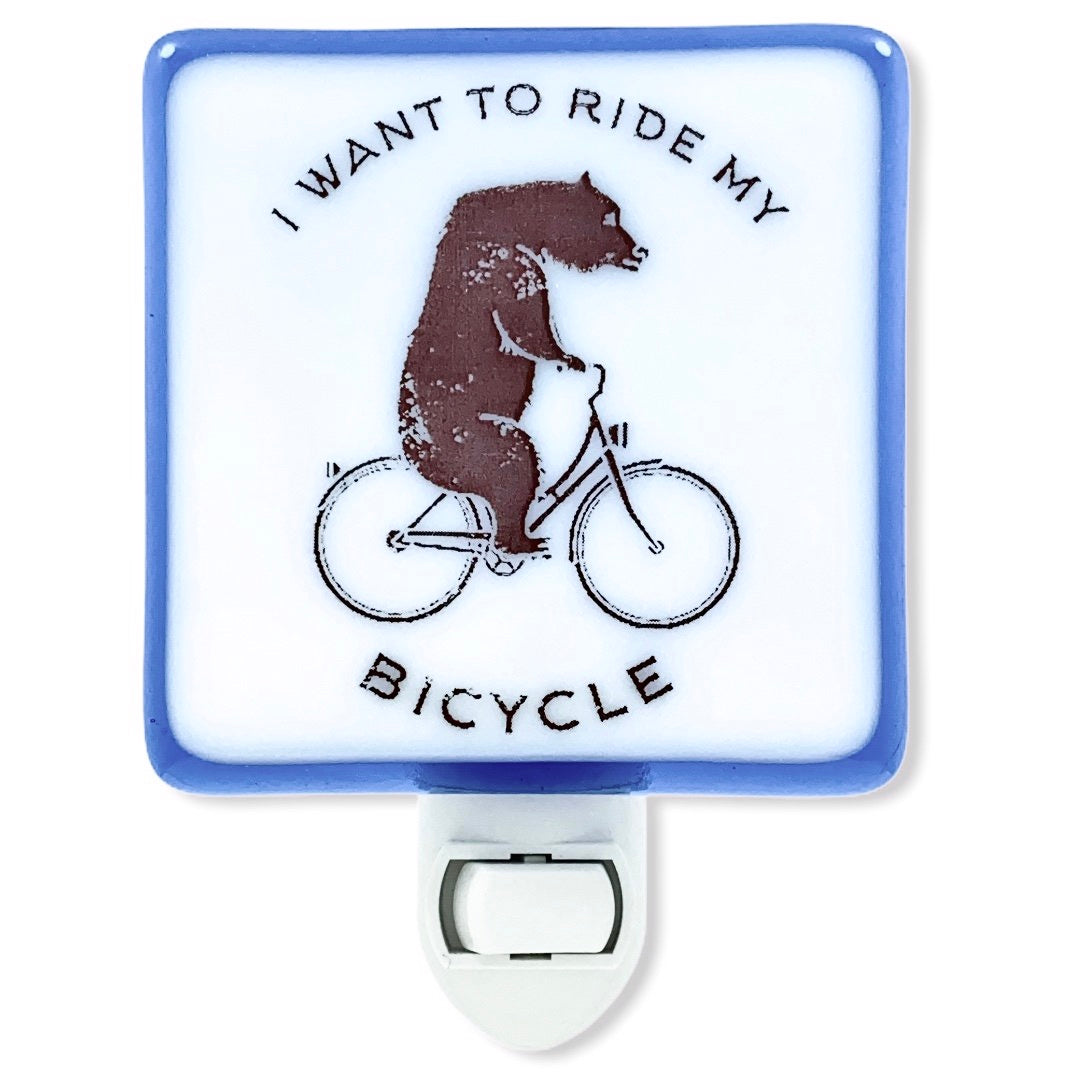 "Bear Riding Bike Night Light ""I Want to Ride My Bicycle"""