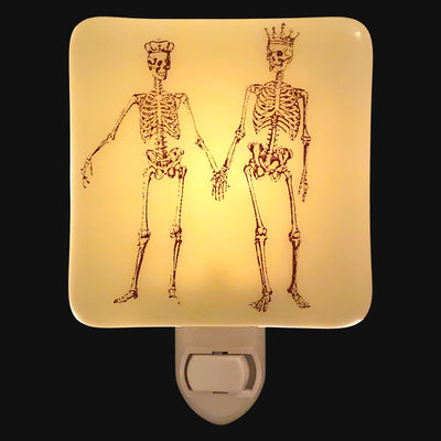 Skeleton King and Queen Holding Hands Night Light