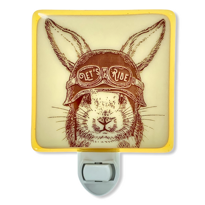 "Rabbit with Motorcycle Helmet ""Let's Ride"" Night Light"
