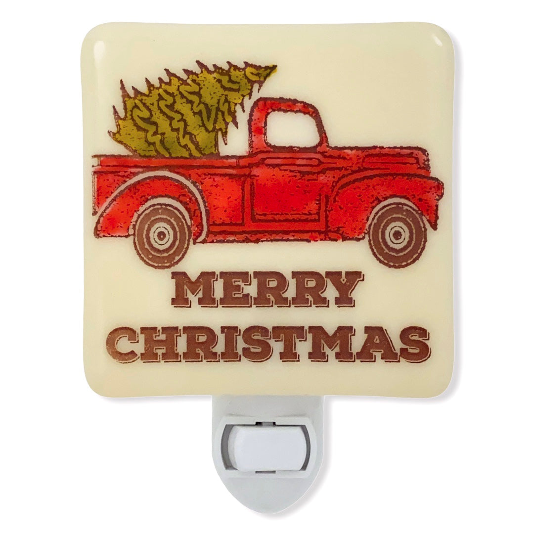 Rustic Old Red Pick Up Truck with Christmas Tree Night Light