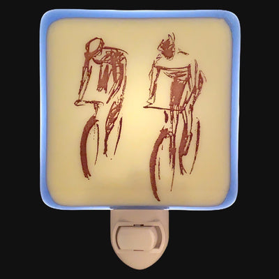 Cyclist Bicycle Night Light - Blue  Fused Glass
