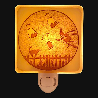 Cute Halloween Moon Witch and Cat Night Light