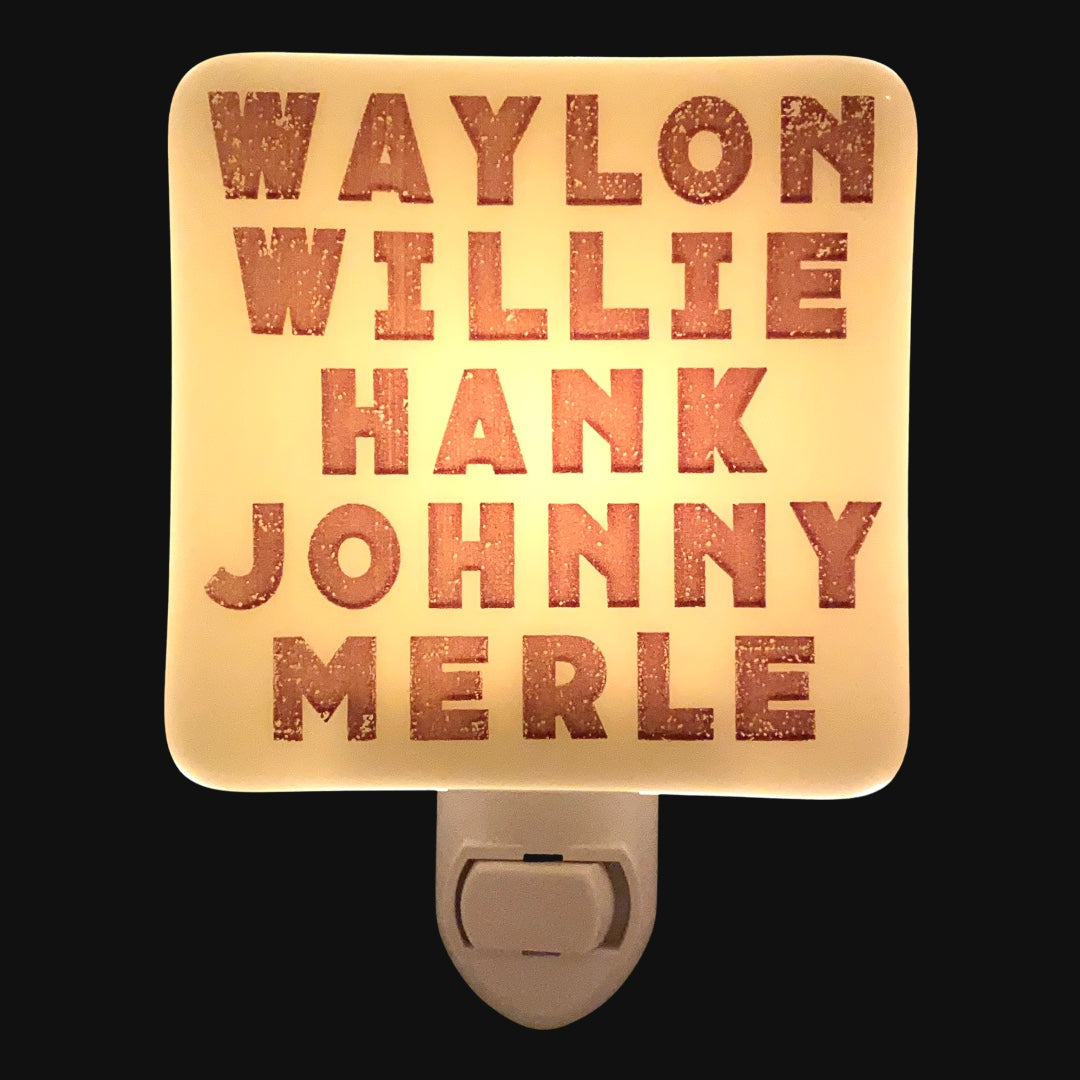 "Country Music Legends Night Light  ""Waylon, Willie, Hank, Johnny, Merle"""