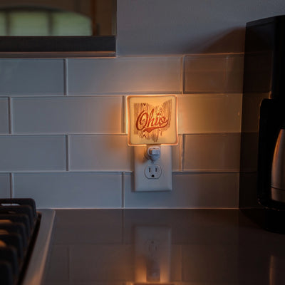Ohio Woodgrain Script Night Light