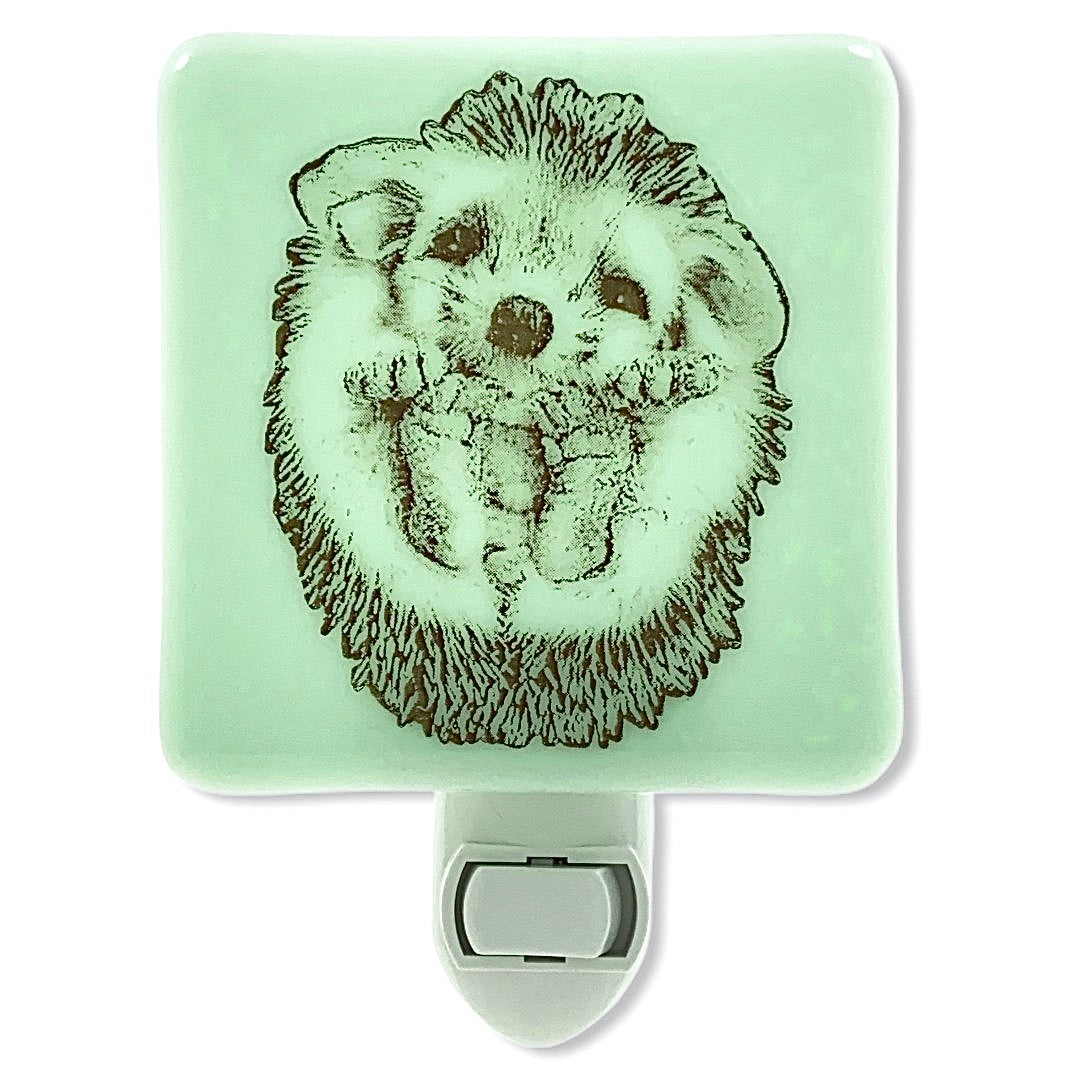Hedgehog Baby Roly Poly Night Light Mint Green Glass