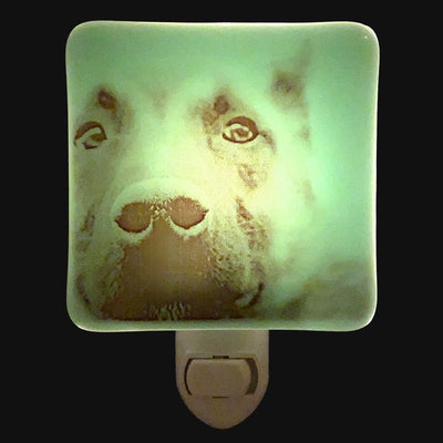 Dog Nose German Shepherds Night Light - White Glass
