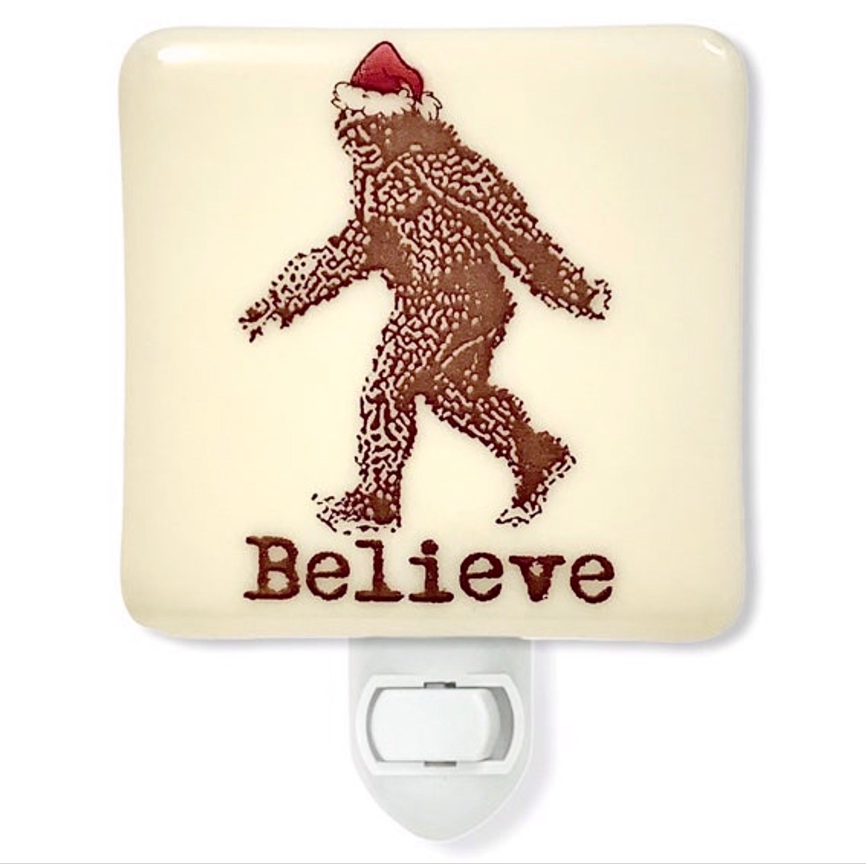Bigfoot Sasquatch in Santa Hat Christmas Night Light