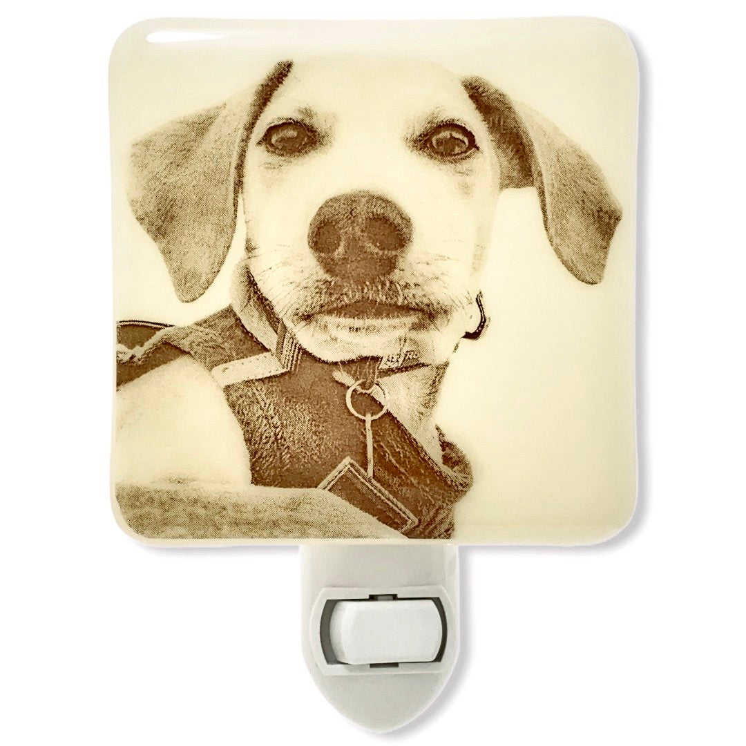 CUSTOM Photo Night Light - Ivory Glass