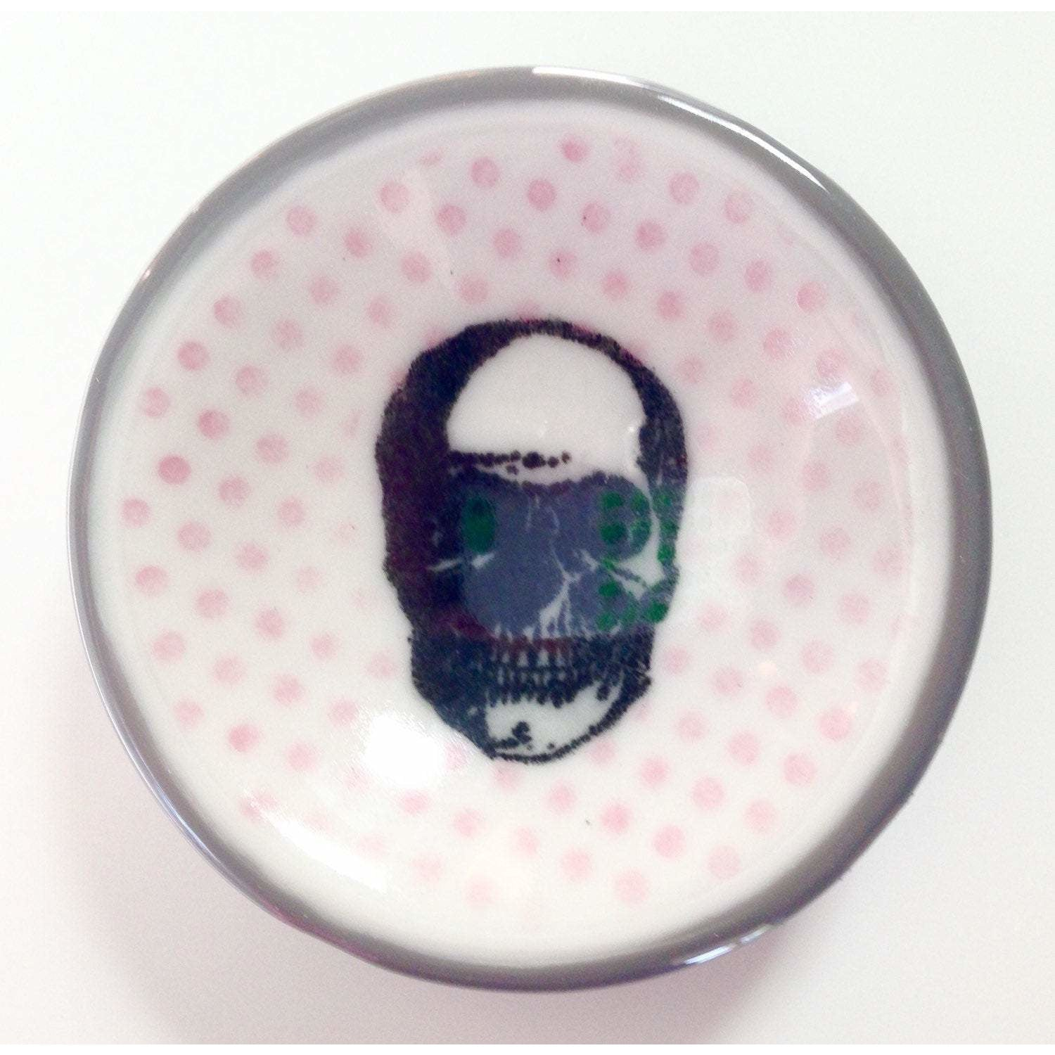 Tiny Skull Glass Round Dishlette with Gray and Pink Polka Dots Dishlette