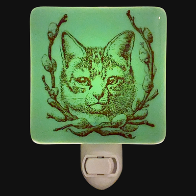 Cat and Pussy Willow Wreath Night Light - Jadeite Green Glass