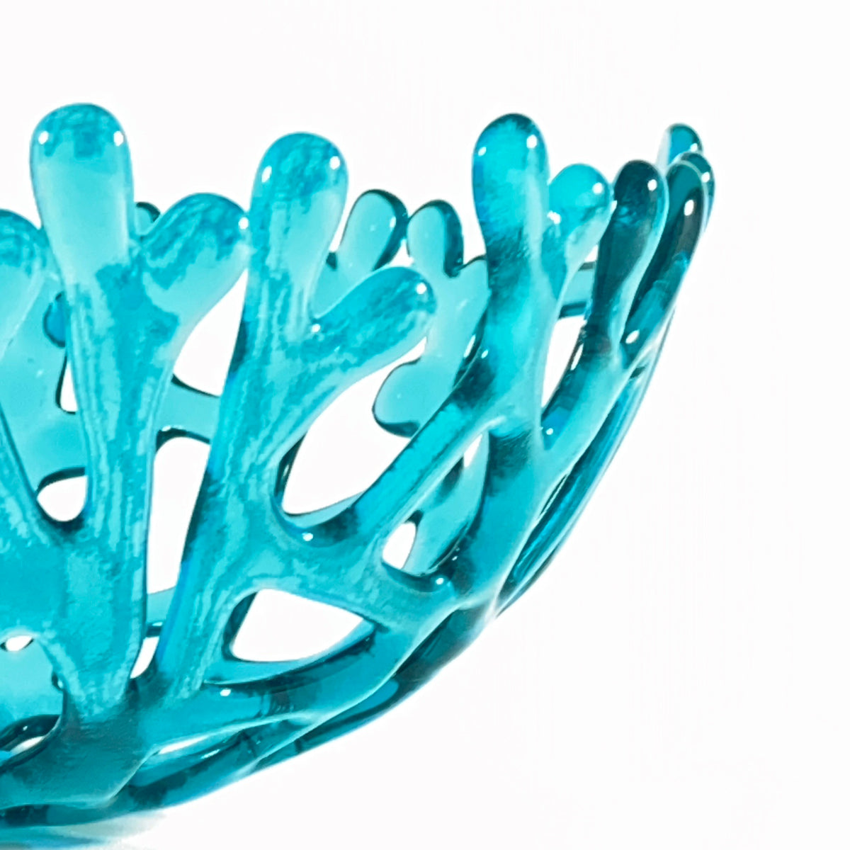 Coral Branch Bowl | Medium Aqua Glass