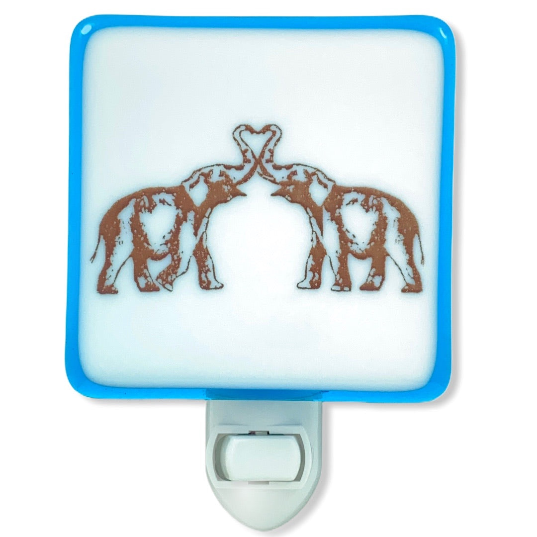 Elephants Heart Night Light - Sky Blue Glass