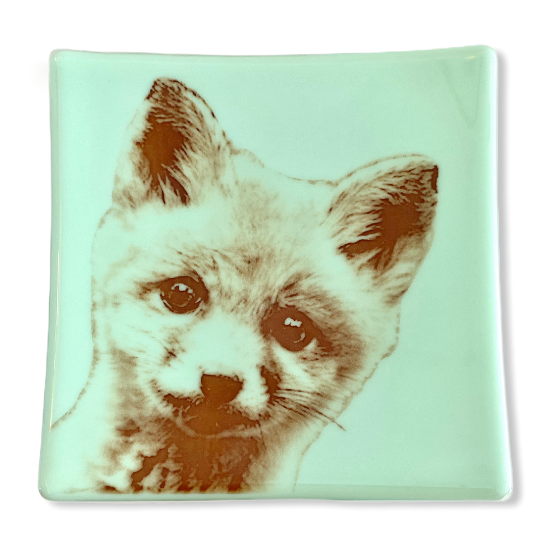 "Fox Baby Tray 7.5"" Mint Green Glass"