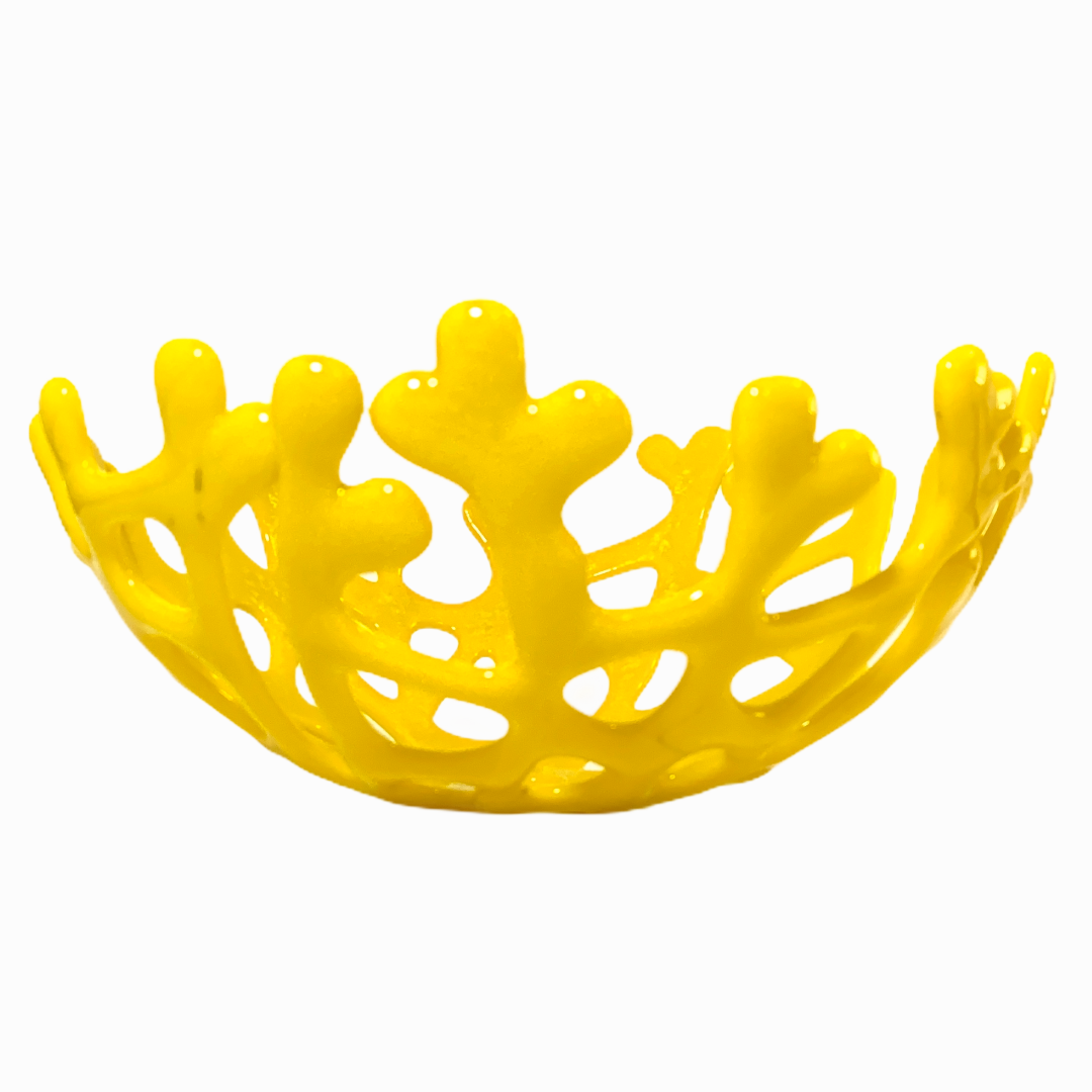Coral Branch Bowl | Medium Lemon Yellow Opaque Glass