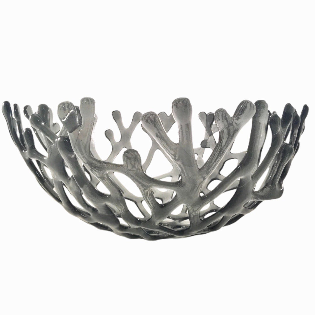 Coral Branch Bowl | Large Gray Glass