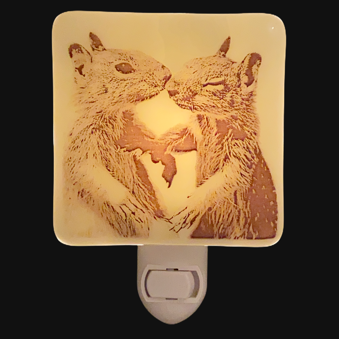 Squirrel Babies Kiss Night Light