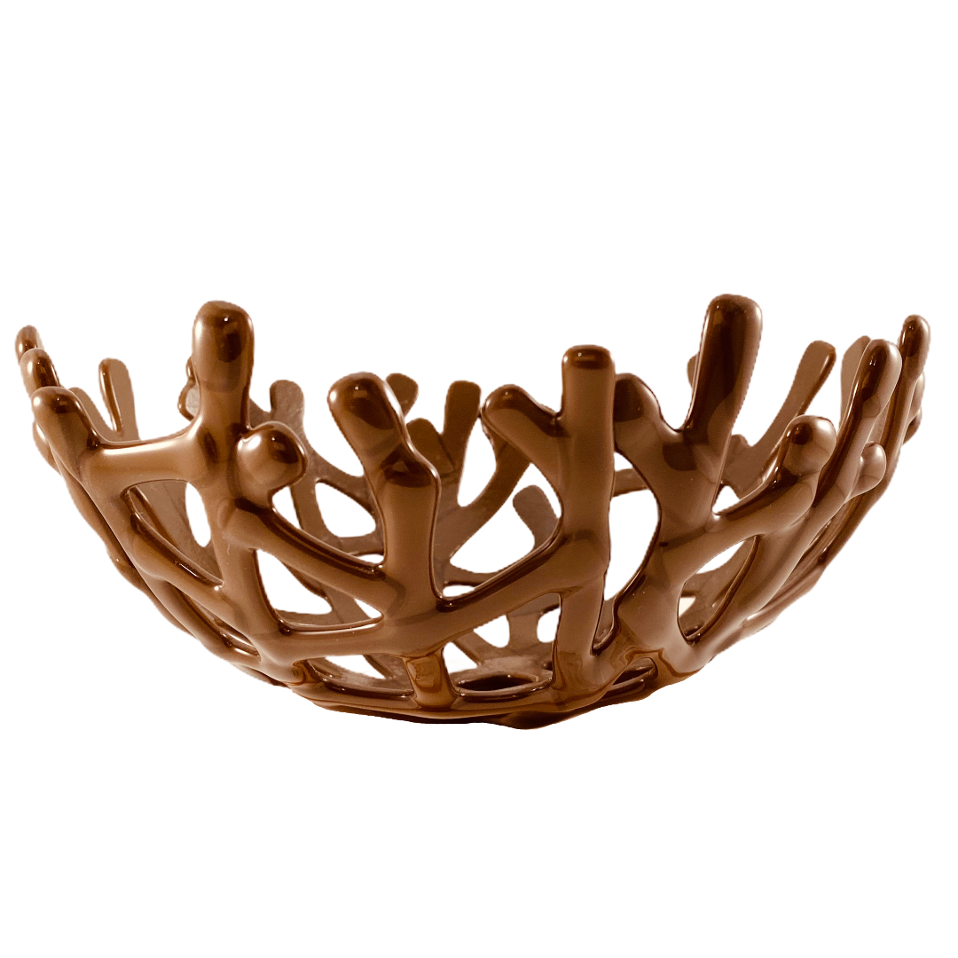 Coral Branch Bowl | Medium Opaque Chocolate Glass