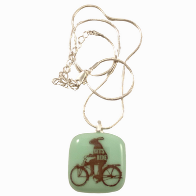 "Rabbit Riding Bicycle ""Let's Ride"" Pendant Necklace"