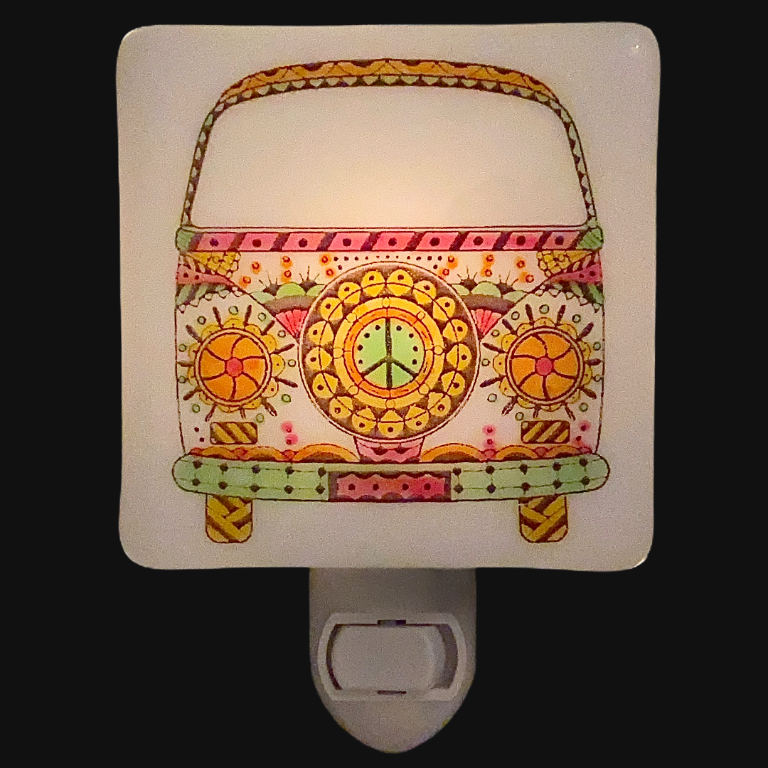 VW Peace Bus Night Light - Hand Painted