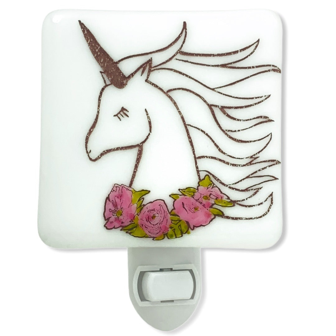 Unicorn with Pink Flowers Night Light - Hand Painted