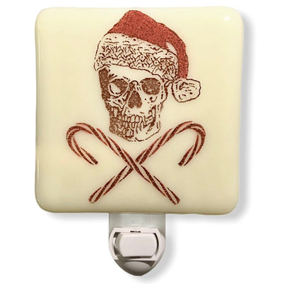 Skull with Santa Hat and Candy Cane Crossbones Night Light Hand Painted