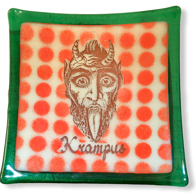 Krampus Dish with Red Polka Dots