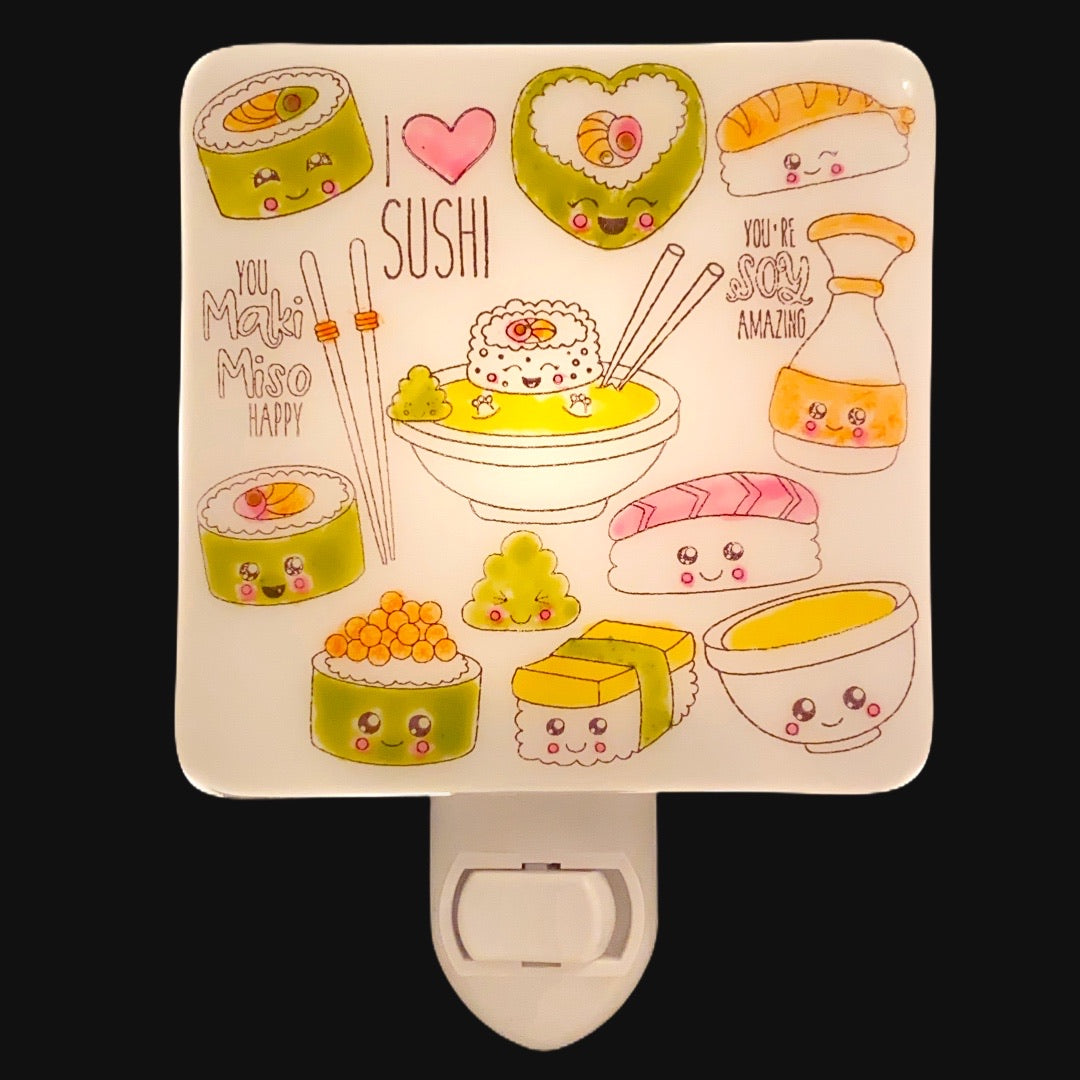 "Cute ""I Heart Sushi"" Night Light - Hand Painted"