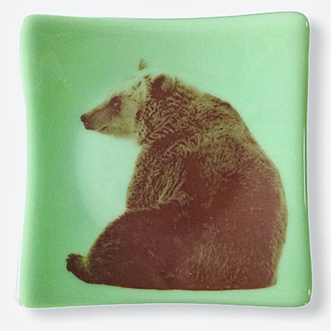 Bear Dish Jadeite Green Glass