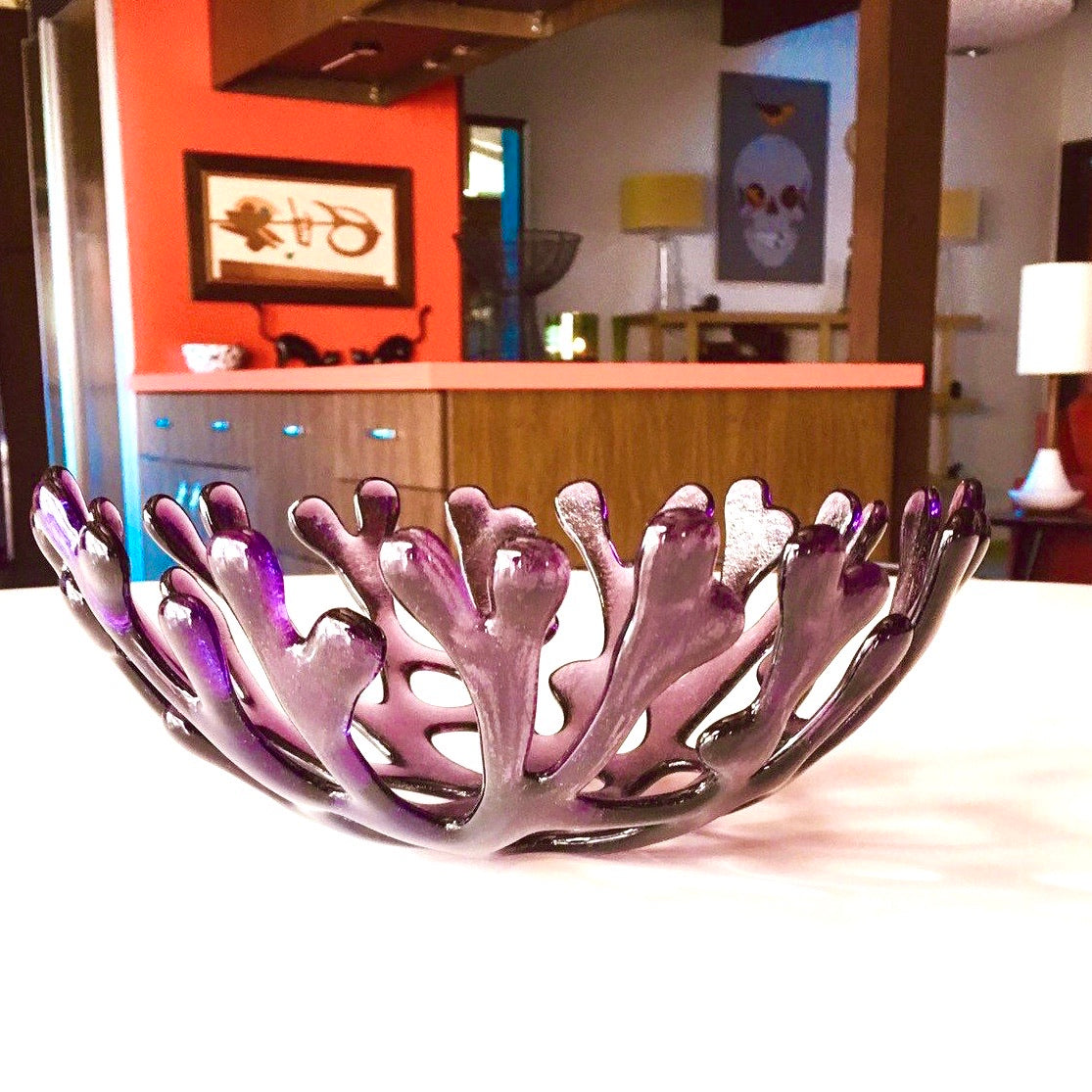 Coral Branch Bowl | Medium Purple Glass