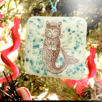 Purrmaid Cat Mermaid Ornament Fused Glass