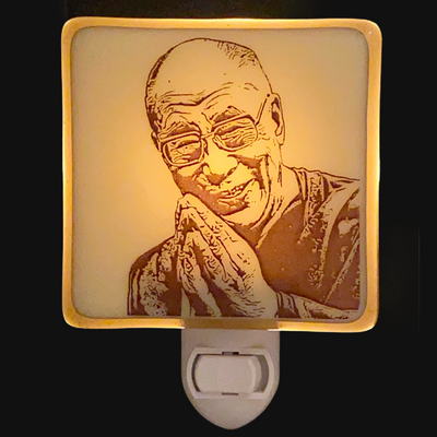 Dalai Lama Night Light Fused Glass