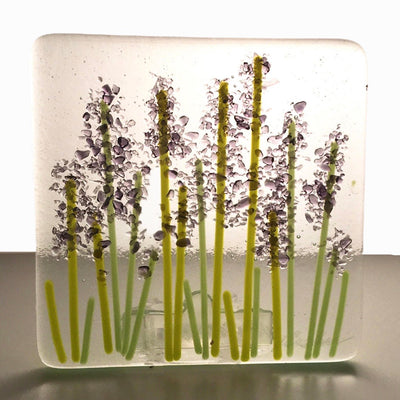 "Lavender Wild Flower Night Light - Glass ""Glitter""- Clear Glass"