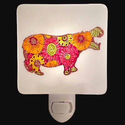 Flowered Hippopotamus Night Light - Hand Painted