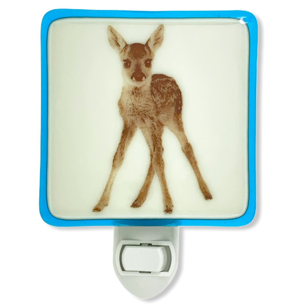 Fawn Night Light - Sky Blue and Ivory Glass