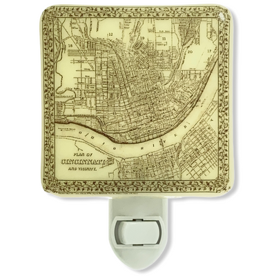 Cincinnati Ohio - 1800's Vintage Map Illustration Night Light