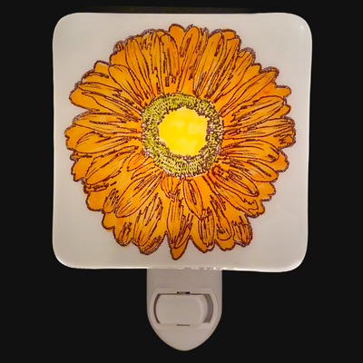 Gerbera Daisy Flower Orange Night Light - Hand Painted