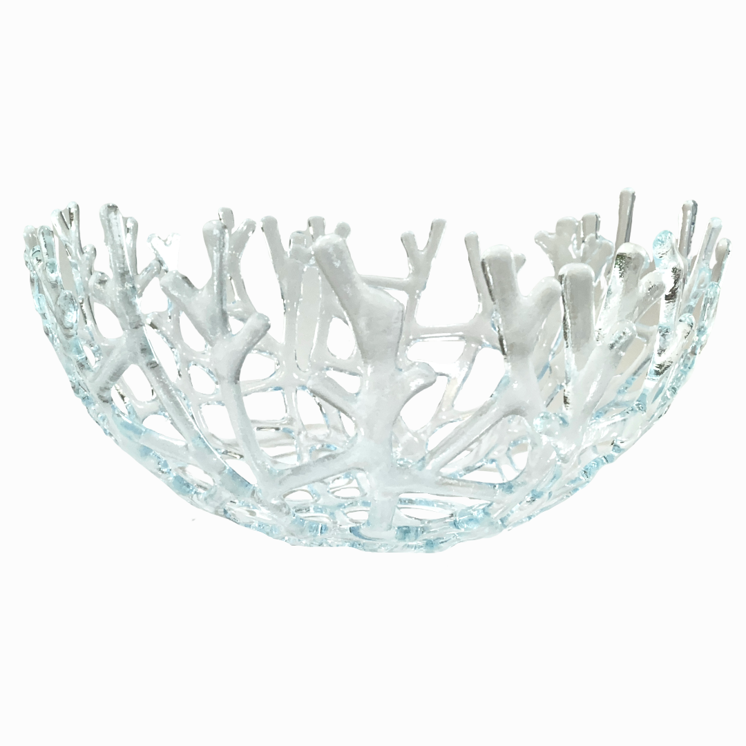 Coral Branch Bowl | Large Clear Glass