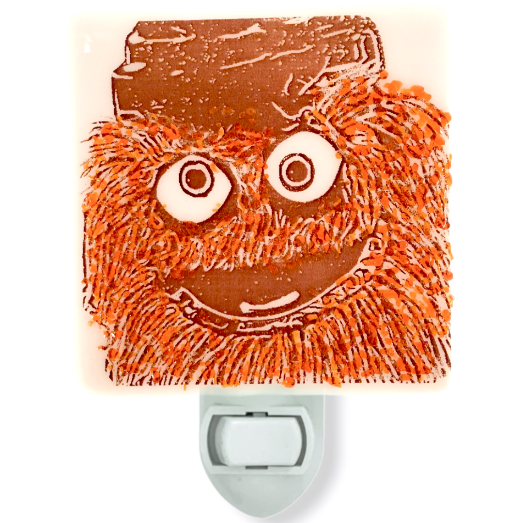 Gritty Philadelphia Flyers Night Light - Orange Glass Glitter Sprinkles