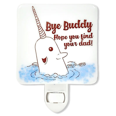 "The Elf Narwhal ""Bye Buddy"" Night Light - Glass ""Glitter"""