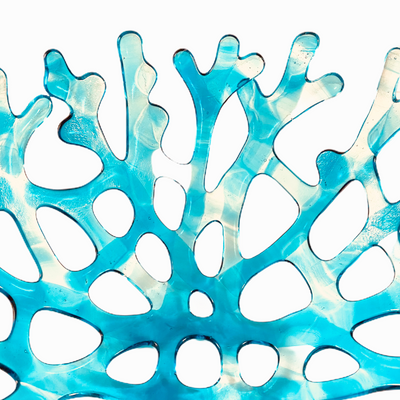 Coral Branch Bowl | Medium Aqua Blue and Clear Variegated Glass