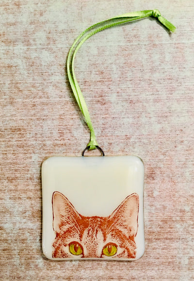 Cat Peaking Ornament - Hand Painted