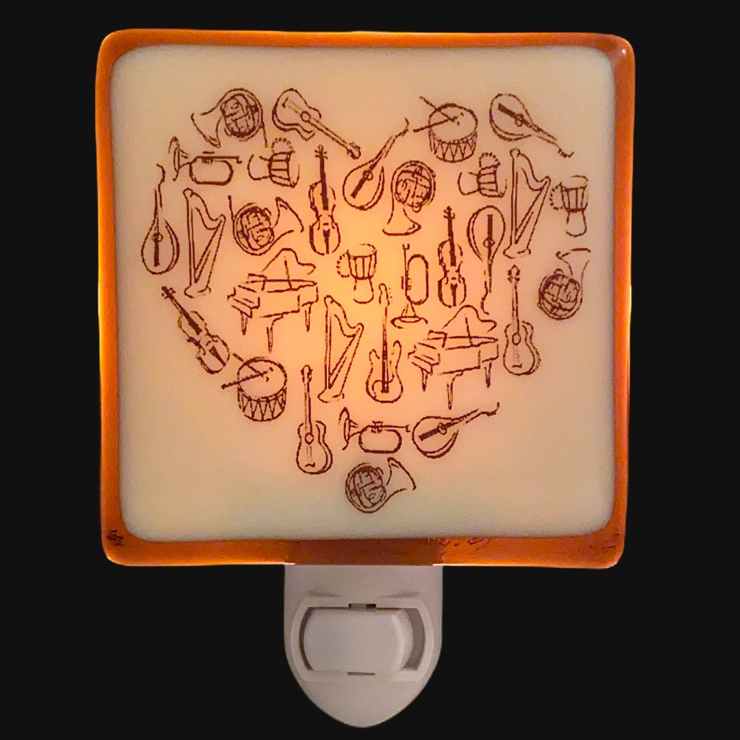 Music Lovers Musical Instruments Heart - Night Light