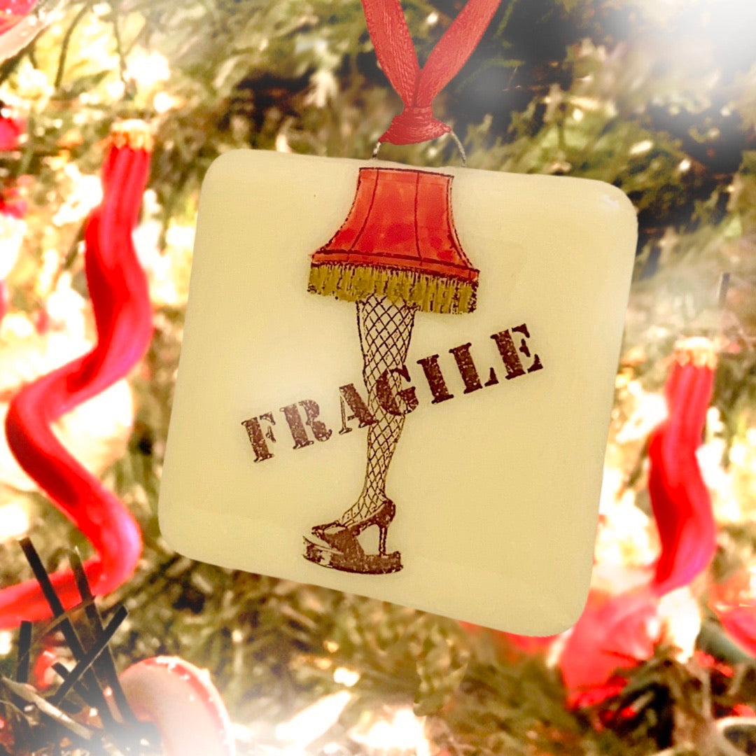 "A Christmas Story - ""Fragile"" Leg Lamp Ornament - Hand-painted"