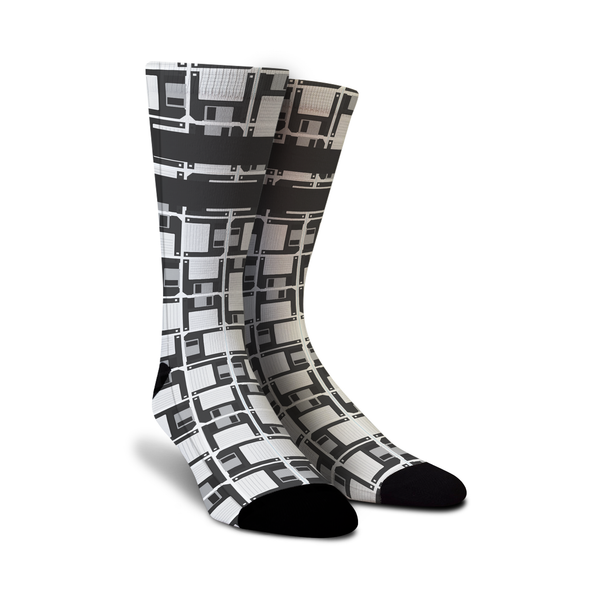 Cool designer men's women's ladies boys kids crew knee high novelty socks with old school retro computer floppy disks