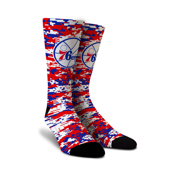 Cool designer men's women's ladies boys kids crew novelty socks with NBA Philadelphia 76ers digicamo